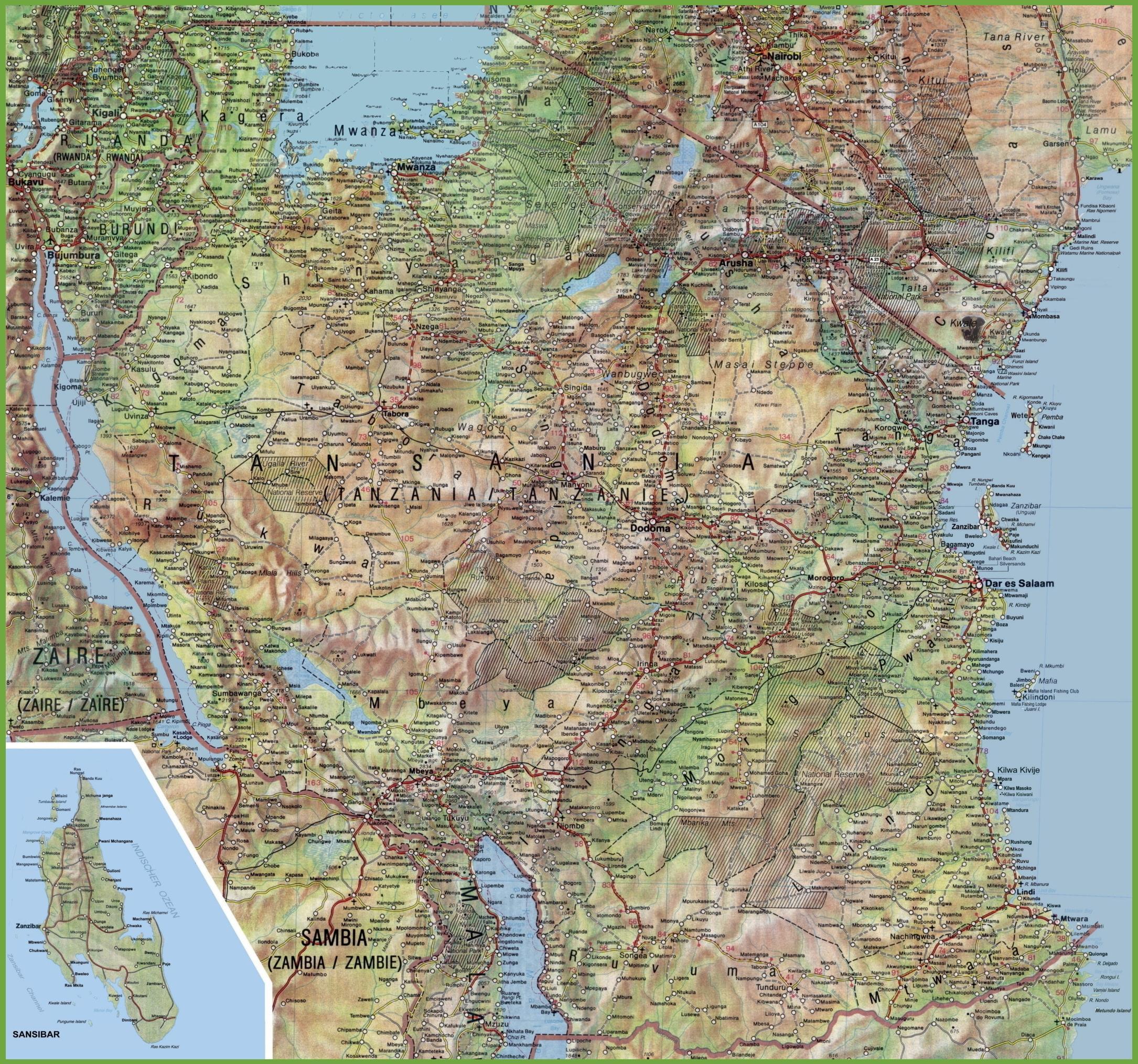 Podrobna Mapa Tanzanie Mapa Podrobne Tanzanie Vychodni Afrika