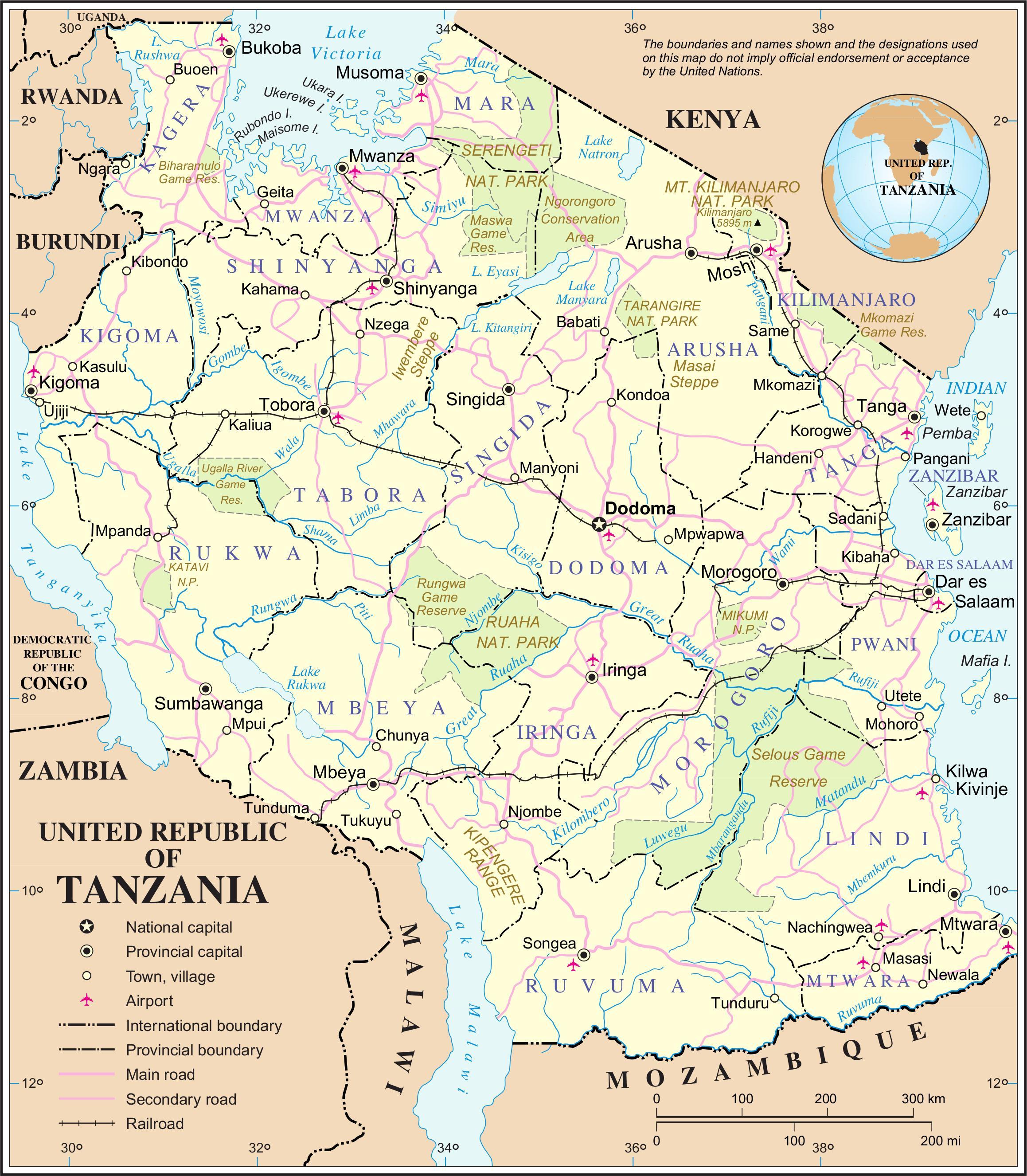 Tanzanie Reky Mapa Mapa Tanzanie Reky Vychodni Afrika Afrika
