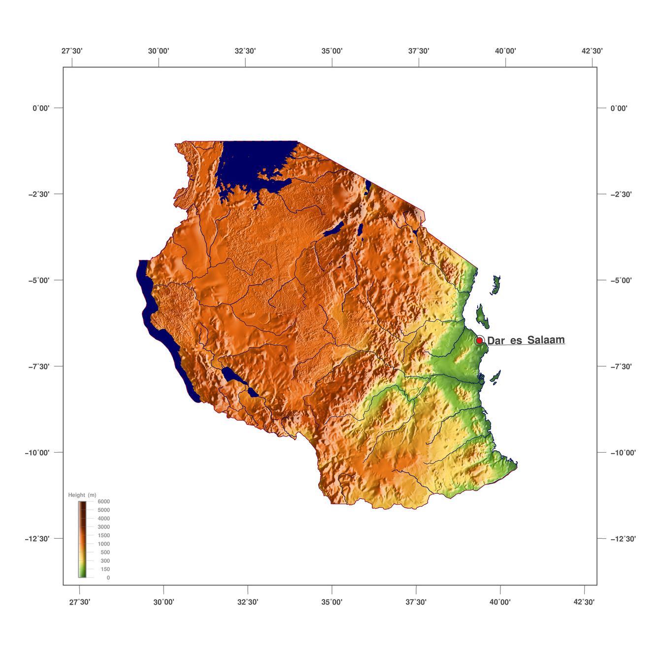 Tanzanie Vyskova Mapa Mapa Tanzanie Nadmorska Vyska Vychodni